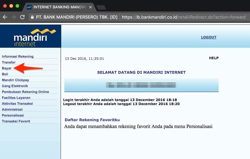 virtual account bank mandiri