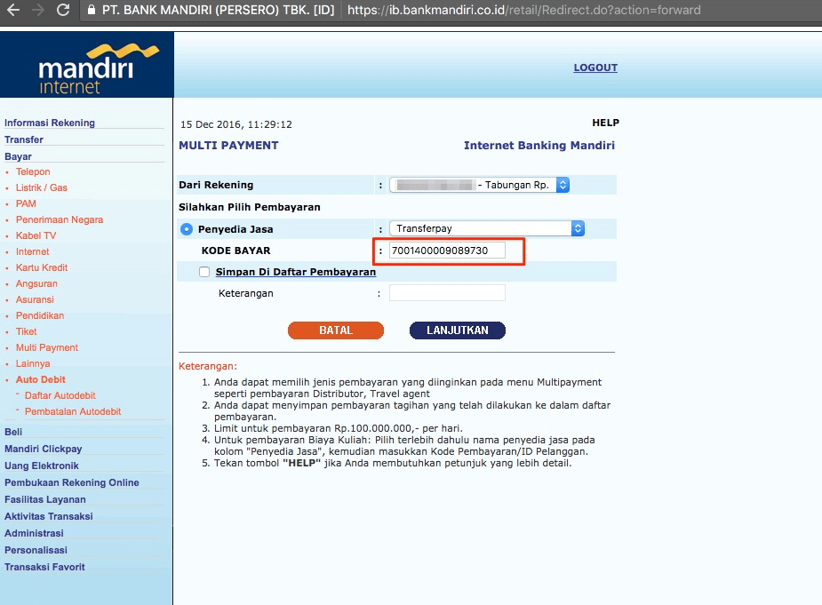 virtual account bank mandiri