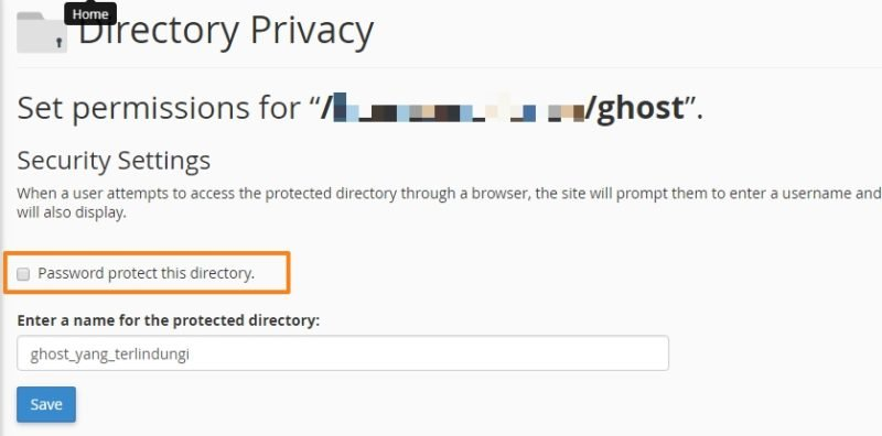 how to password protect the hosting folder in cPanel