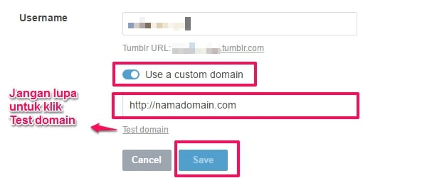 cara custom domain tumblr