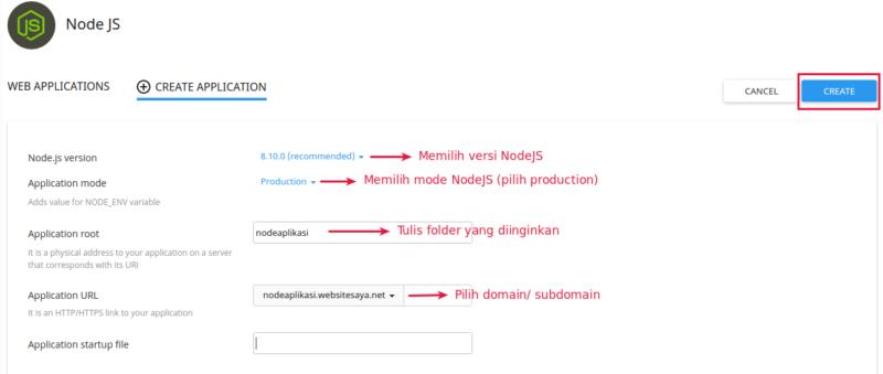setting node.js di hosting