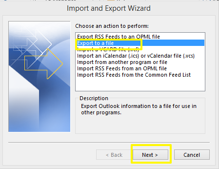 cara backup email outlook