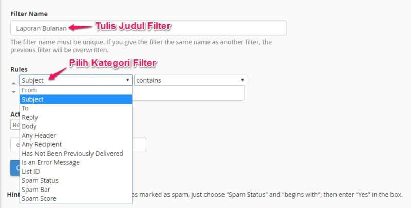 filter email di cpanel