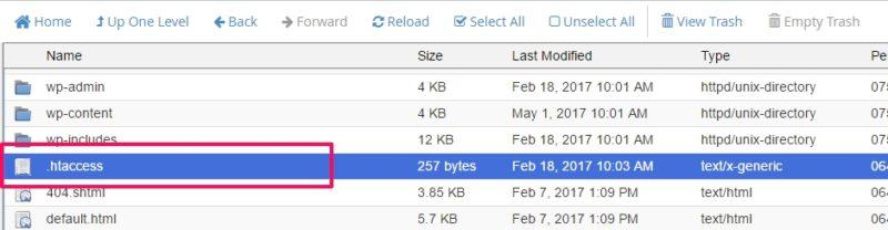 create an htaccess file