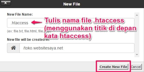 create an htaccess file