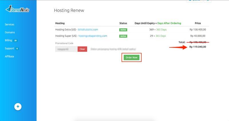 cara perpanjang hosting