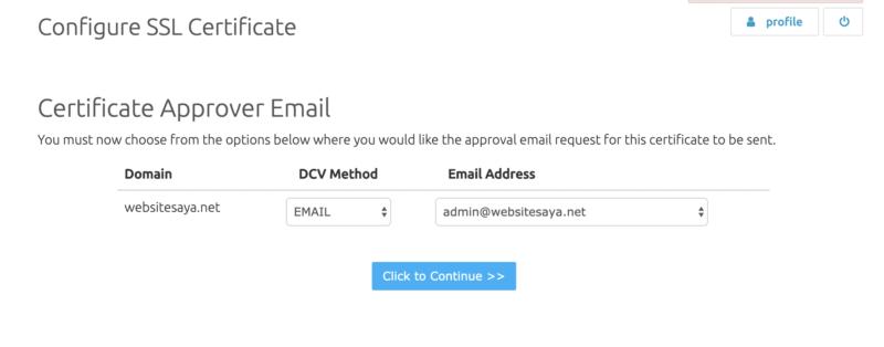 Cara validasi SSL melalui email