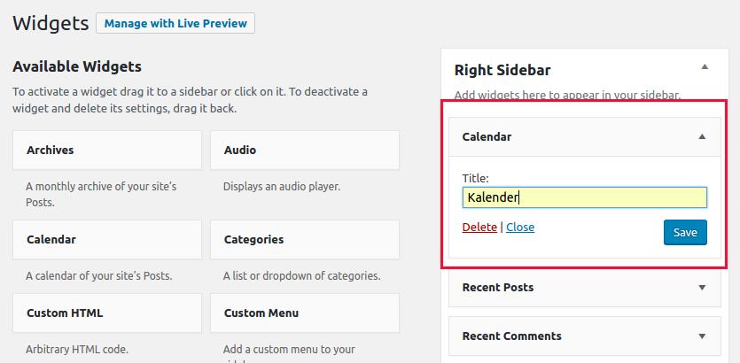 cara memasang widget di WordPress