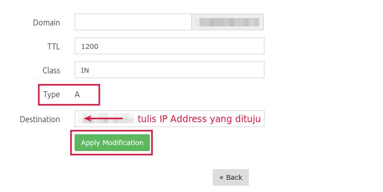 cara mengarahkan domain ke ip berbeda