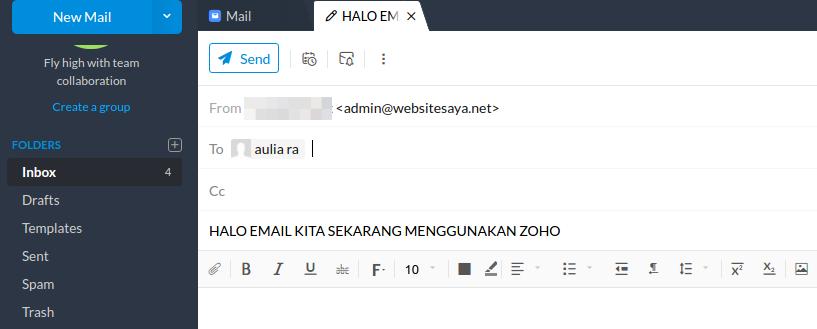 cara setting email zoho