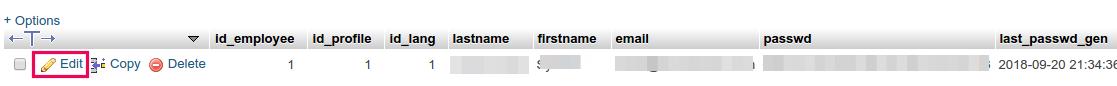 cara reset password prestashop