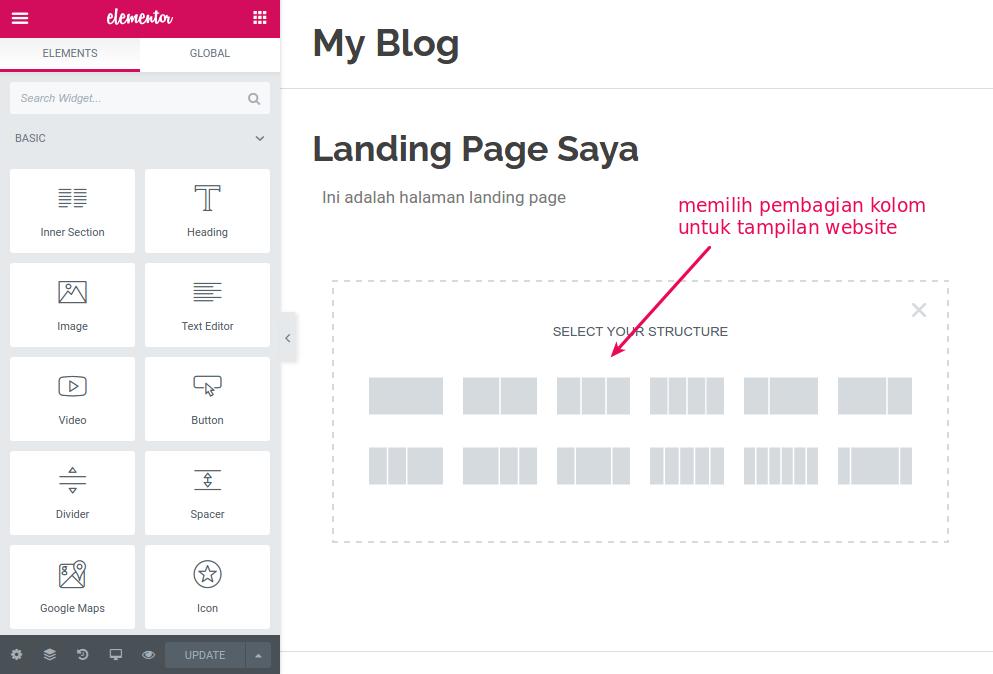 cara membuat landing page dengan elementor