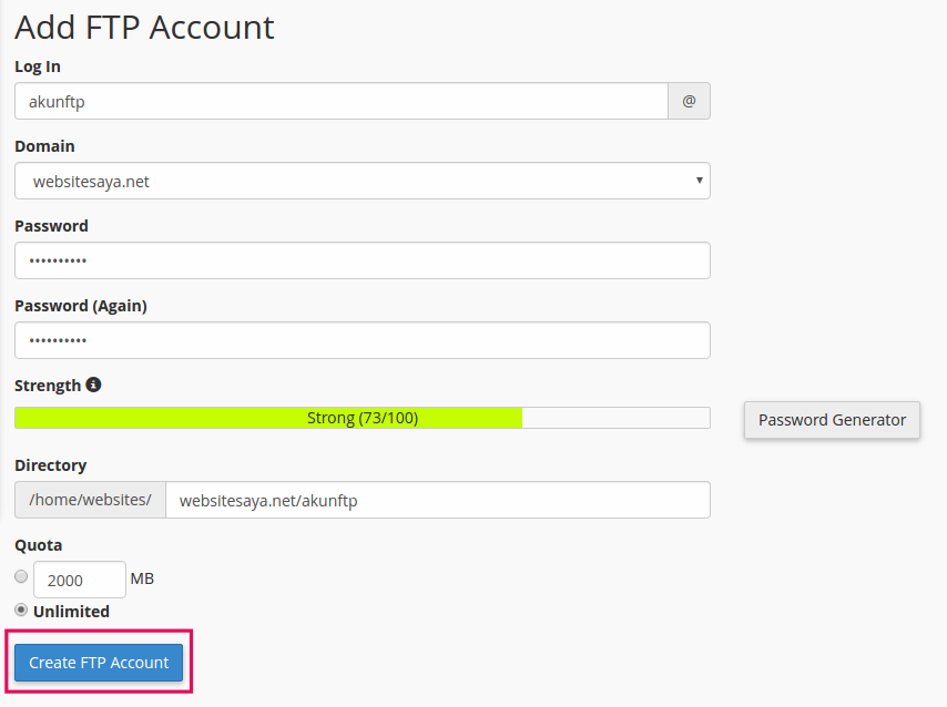how to create an ftp account on cpanel