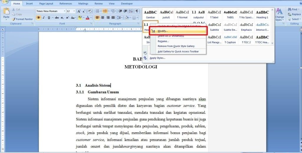 Cara Membuat Daftar Isi di Word 2010 Otomatis