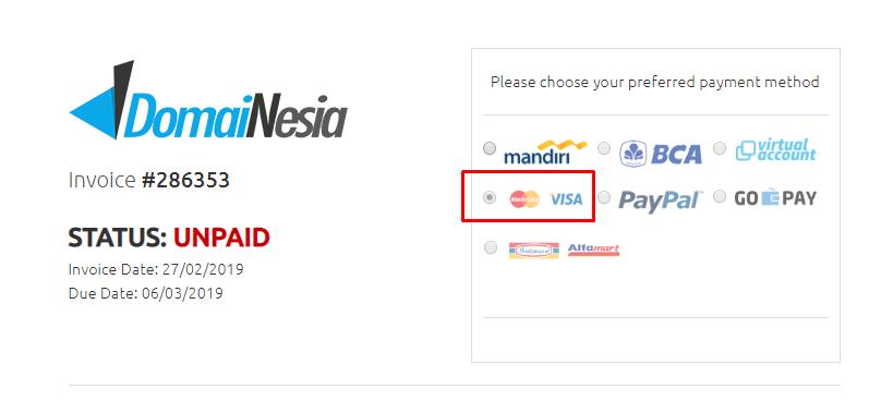cara bayar melalui kartu kredit
