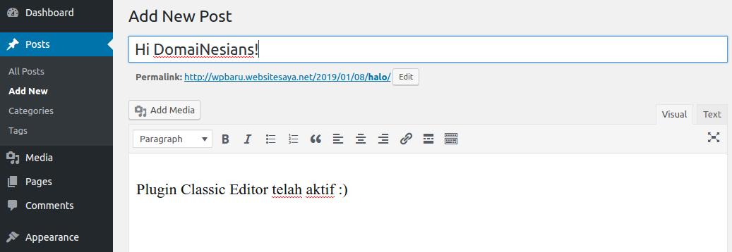 cara mengembalikan editor classic wordpress