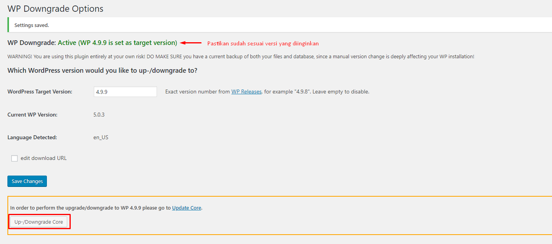 cara downgrade wordpress ke versi sebelumnya