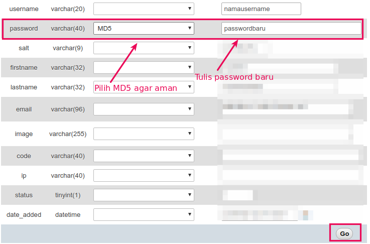 cara reset password OpenCart