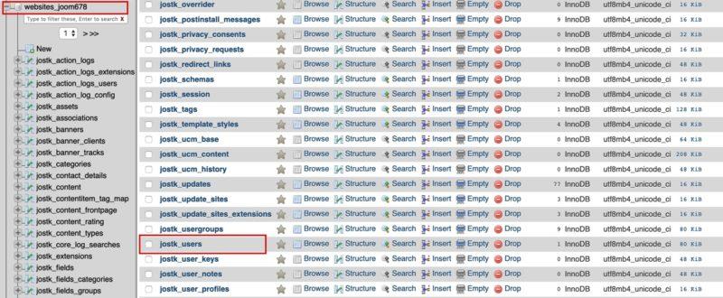 cara reset password Joomla