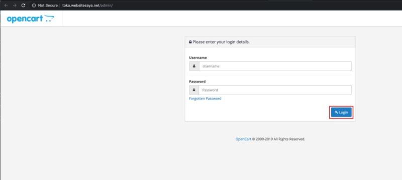 cara login admin OpenCart
