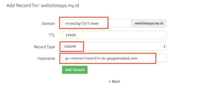 custom domain ID ke Google Sites